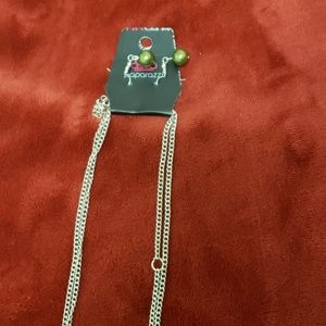 Long grey w/ green beads necklace